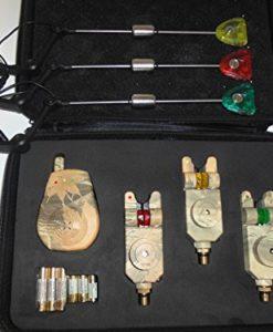 3-x-TMC-Camo-Coloured-Mag-Roller-Slimline-Wireless-Bite-Alarms-Receiver-Batteries-Case-Waterproof-25mm-Jacks-Latching-LEDs-3-x-matching-Illuminated-Hangers-Free-set-of-3-Speaker-Mufflers-worth-499-0