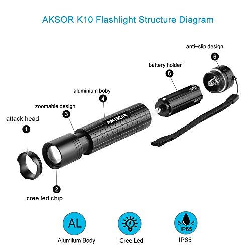 buy aksor k10 led pocket torch  adjustable focus cree led tactical flashlight  super bright 400