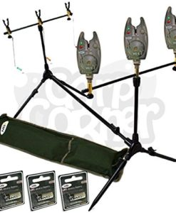 Carp-Fishing-Rod-Pod-With-Swingers-3-Bite-Alarms-Batteries-0