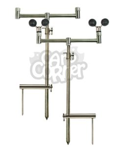 Deluxe-Carp-Fishing-Stainless-Steel-Set-2x-Banksticks-2x-Buzzer-Bars-2x-Stabiliser-With-2x-ball-rests-0