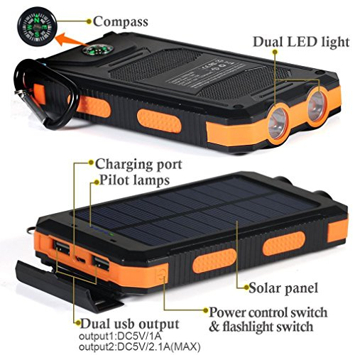 Buy Solar Charger Vivostar 10000mah Solar Power Bank External Backup Battery Pack Dual Usb